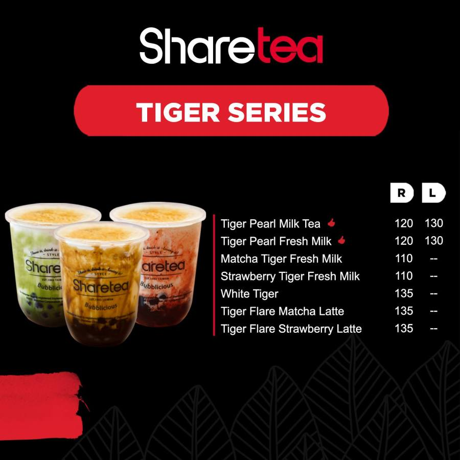 Sharetea Menu Tiger Series