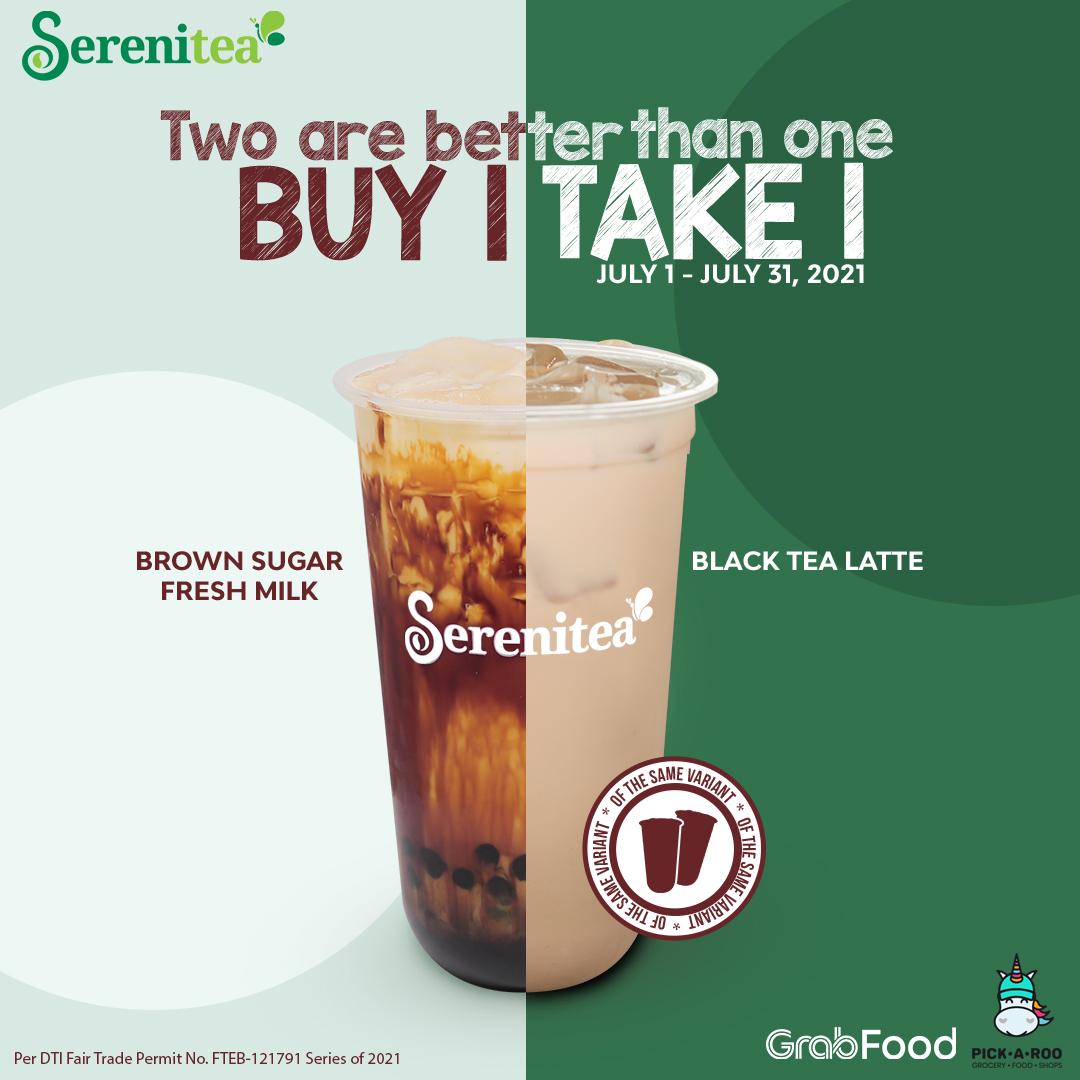 Serenitea Buy 1 Get 1 Promo on Large Brown Sugar Fresh Milk and Black Tea Latte
