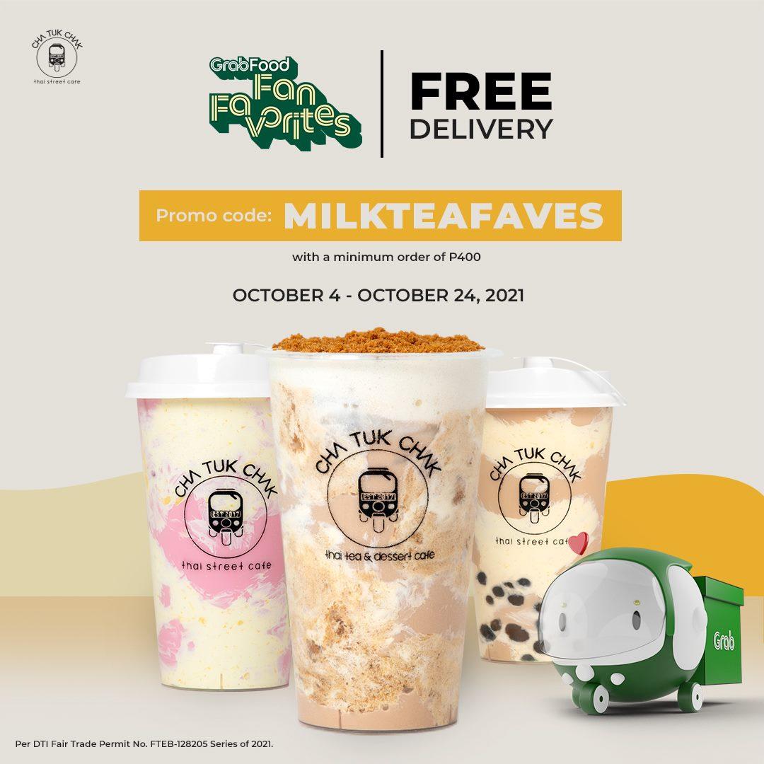 Cha Tuk Chak Grab Free Delivery Promo 2021
