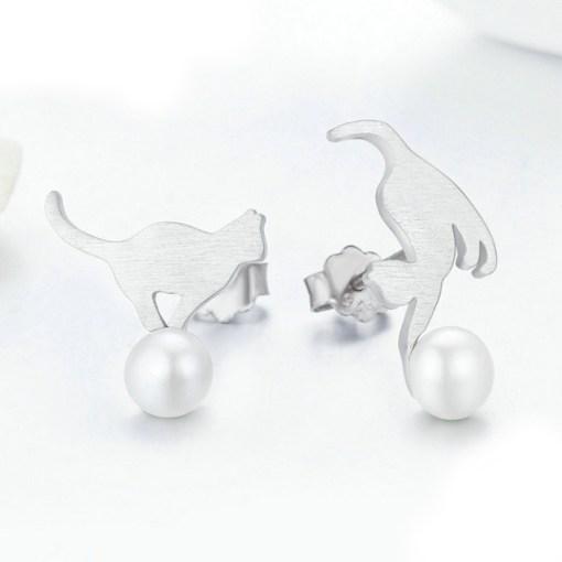 Cercei din argint cu Pisici Jucause