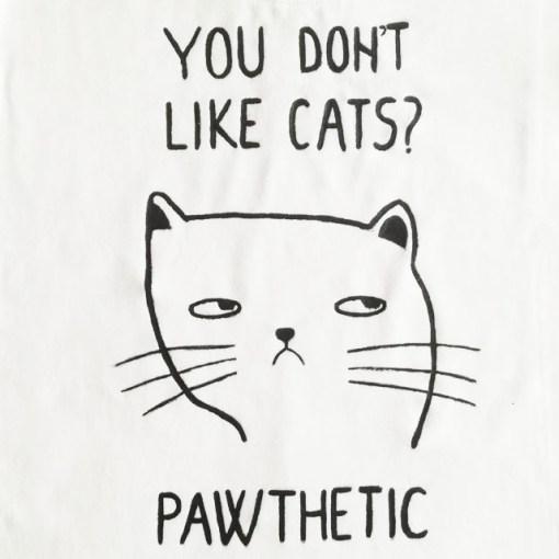 Tricou pictat manual cu Pisica Pawthetic