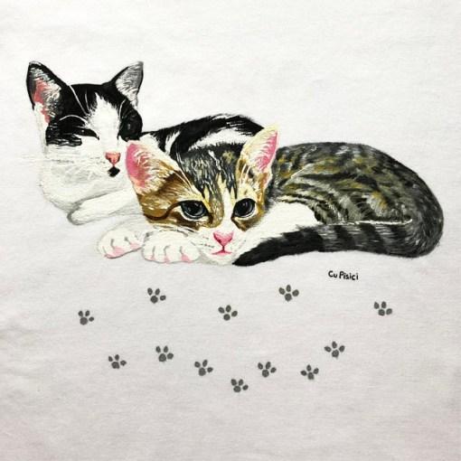 Tricou personalizat cu Doua Pisici, pictat manual