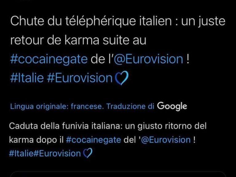 «Questo è il karma» davanti alla tragedia della funivia: francesi pessimi per il secondo posto all'Eurovision
