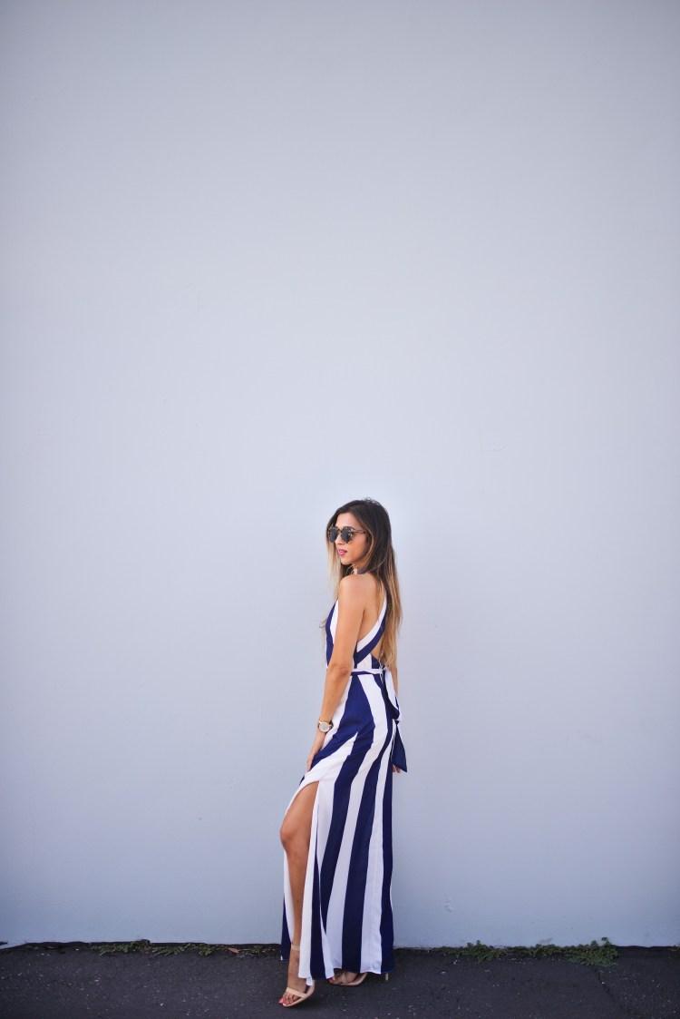 cuppajyo_fashion_lifestyle_travel_blogger_sanfrancisco_california_clarins_fameandpartners_nighttime_nautical_stripes_backless_maxidress_weddingguestfashion_2