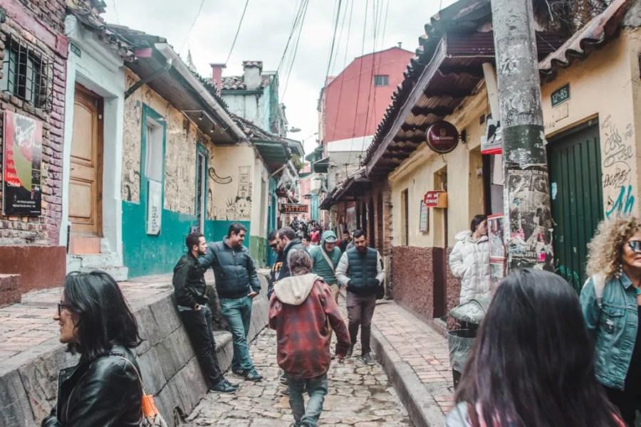 busy street in la candelaria, bogota - where to stay in bogota neighbourhoods