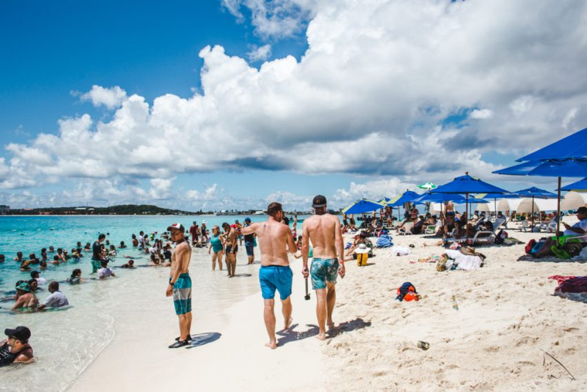 Crowds on busy Johnny Cay San Andres Colombia   VIP boat tour island travel guide