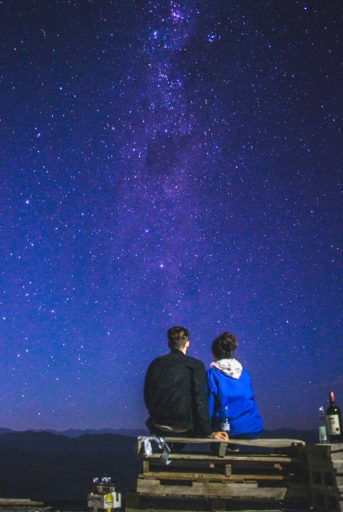 travel couple at the milky way in the atacama desert near copiapo chile