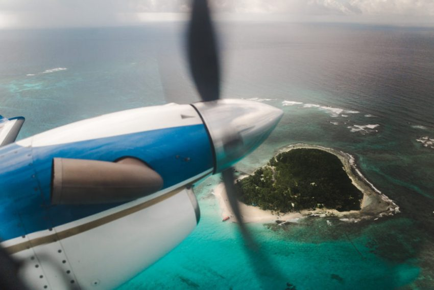 Aerial view of johnny cay sucre on propeller plane to isla de providencia   Things to do on san andres island   johnny cay colombia