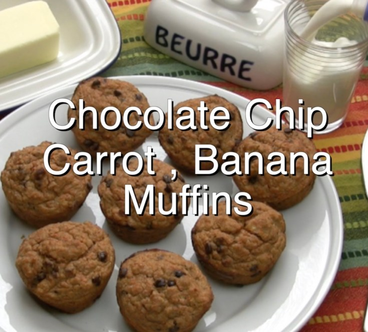 Chocolate Chip Carrot and Banana Muffins with Pecans