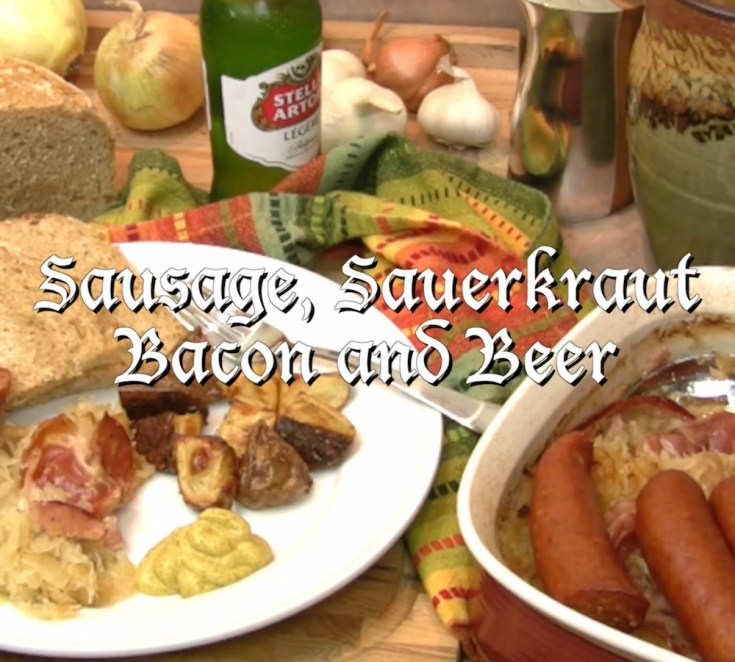 German Sausage with Sauerkraut in Beer