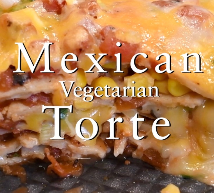 This savory vegetarian Mexican torte is warm, slightly spicy and full of flavor, it feeds 8 and makes a great meal anytime. Serve with fire roasted salsa, sour cream, guacamole and ice-cold Mexican beer.