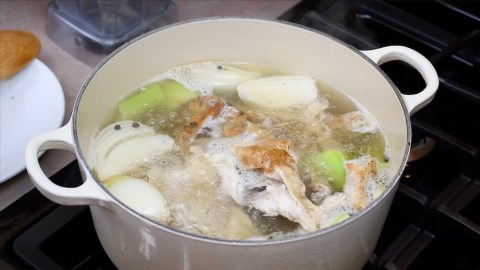 boiling broth in a pot