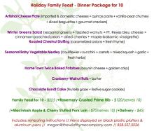 Wild Thyme Company Holiday Menu