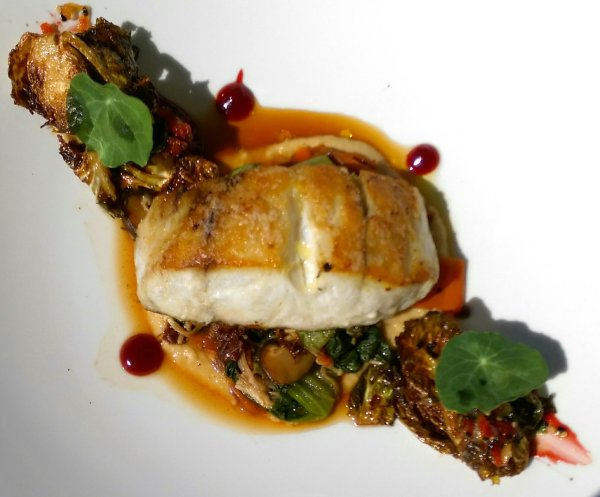 Seabass Brussel Sprouts on a garbanzo bean pureea