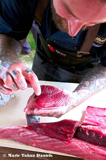 Chef Rob Ruiz, Land & Water Co, Shows off a gorgeous piece of fish