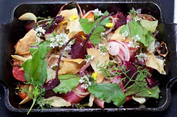 "Spicy Warm Beet Salad by Jsix | vinegar-braised ""Paksiw-style"" | Manchego cheese |serrano chilis | crispy garlic"
