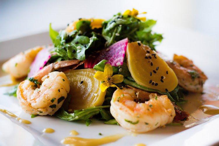 Roasted Beet Salad from Masters kitchen & Cocktail | roasted beets with wild rocket arugula, miso vinaigrette, black sesame | option with shrimp