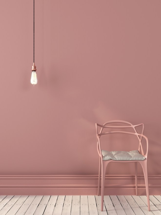 pink paint palettes interior design with pink chair and light