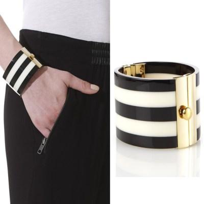 Modern Malene Birger Cuff Striped Bracelet Black & White