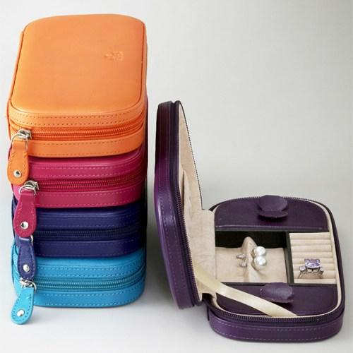 Elegant Italian Leather Jewelry Case Box 4 Colors