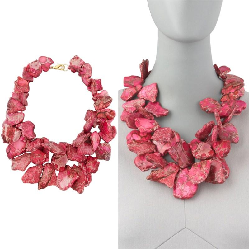 Unique Natural Stone Jewelry Nest Pink Jasper Necklace