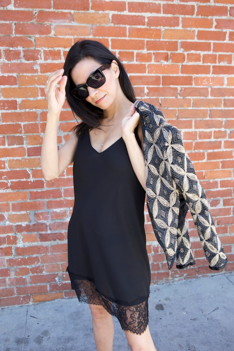 How To Wear A Black Lace Slip Dress With Class