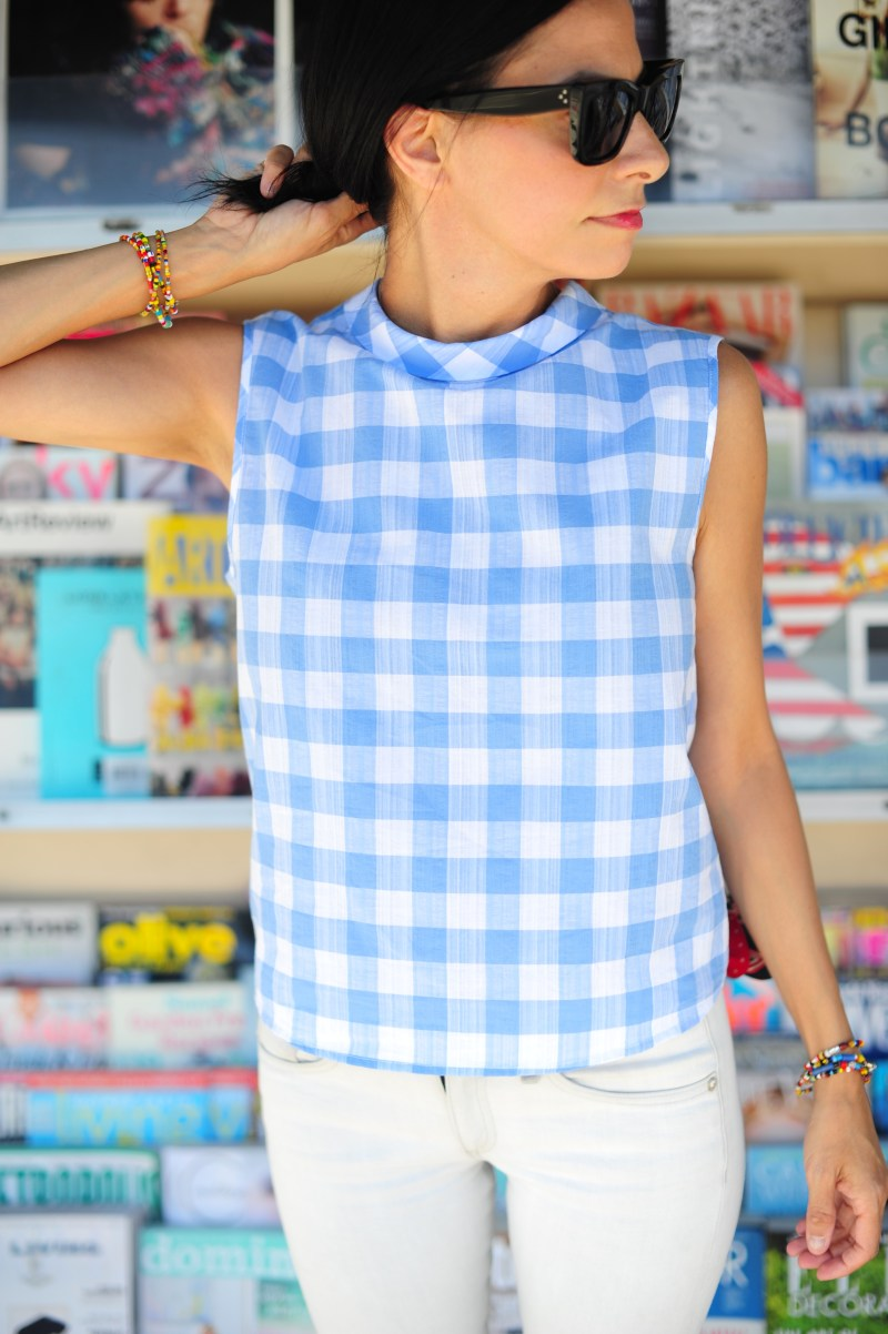 Mango Top - Blue Gingham Top