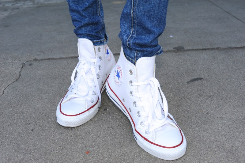 First Day Of Cool - White Converse Leather High Tops