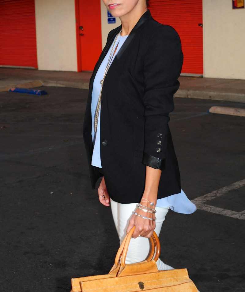 Going With The Flow  - Helmut Lang Blazer - Parker Lonnie Top - Italian Weekender Bag - Alfani Necklace