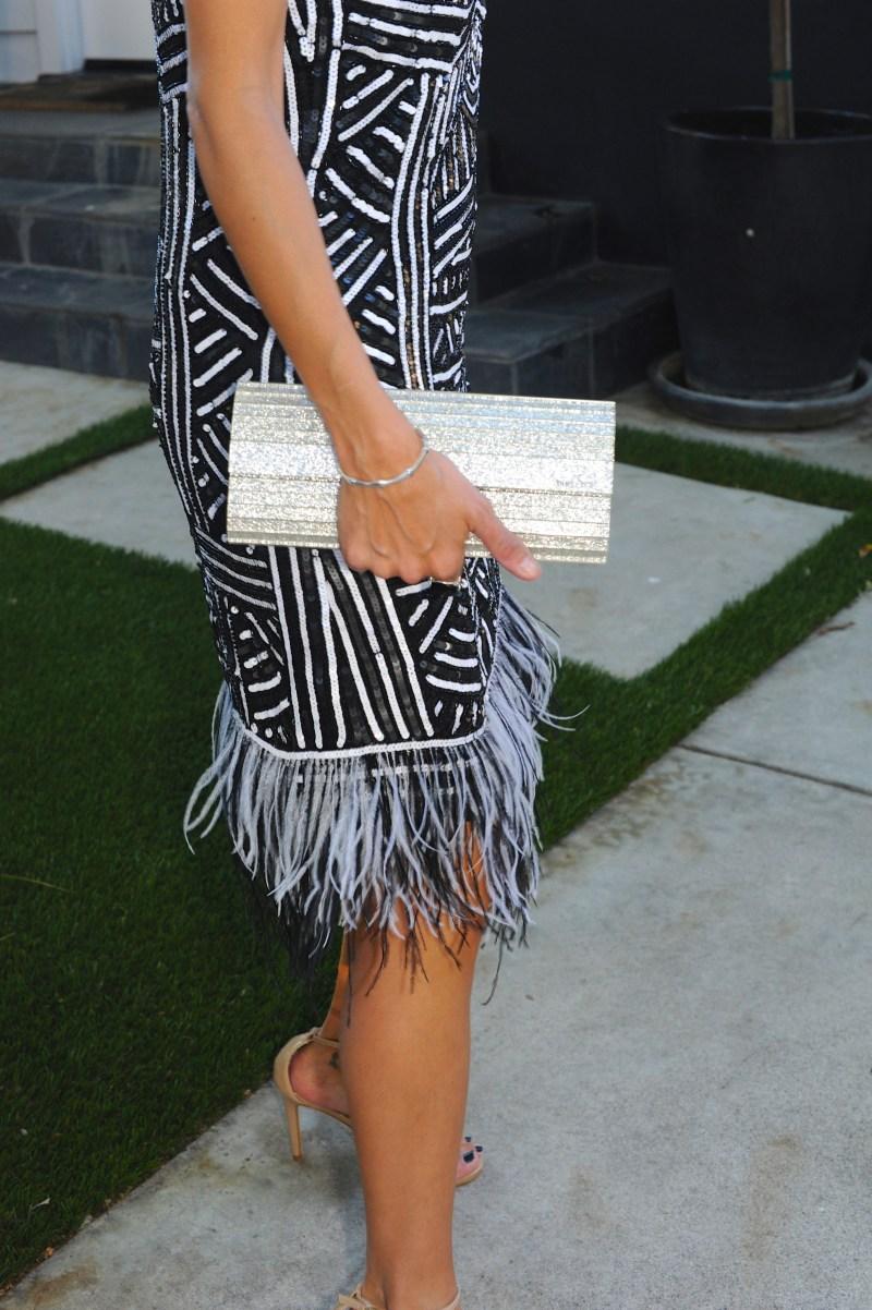 Tenth Day Of Cool - Parker Hayden Sequin Dress - Jimmy Choo Clutch