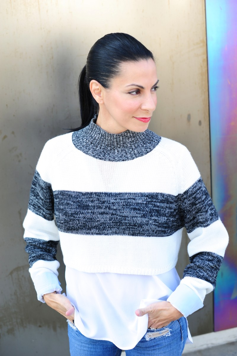 Crop Top Sweater - Evil Twin Striped Crop Top Sweater - Dylan Gray Blouse