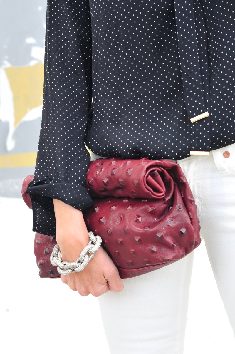 Black Polka Dot Blouse - Marie Turner Studded Clutch