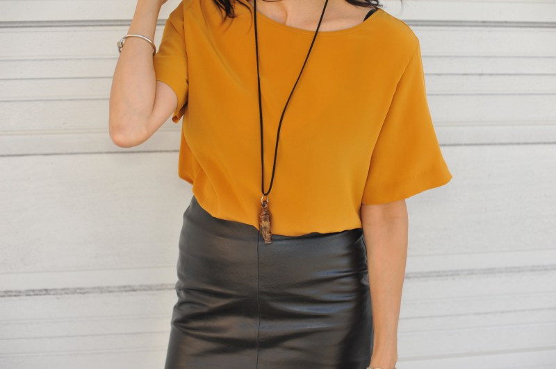 Pushing Yourself - Faux Leather Skirt - H&M Top