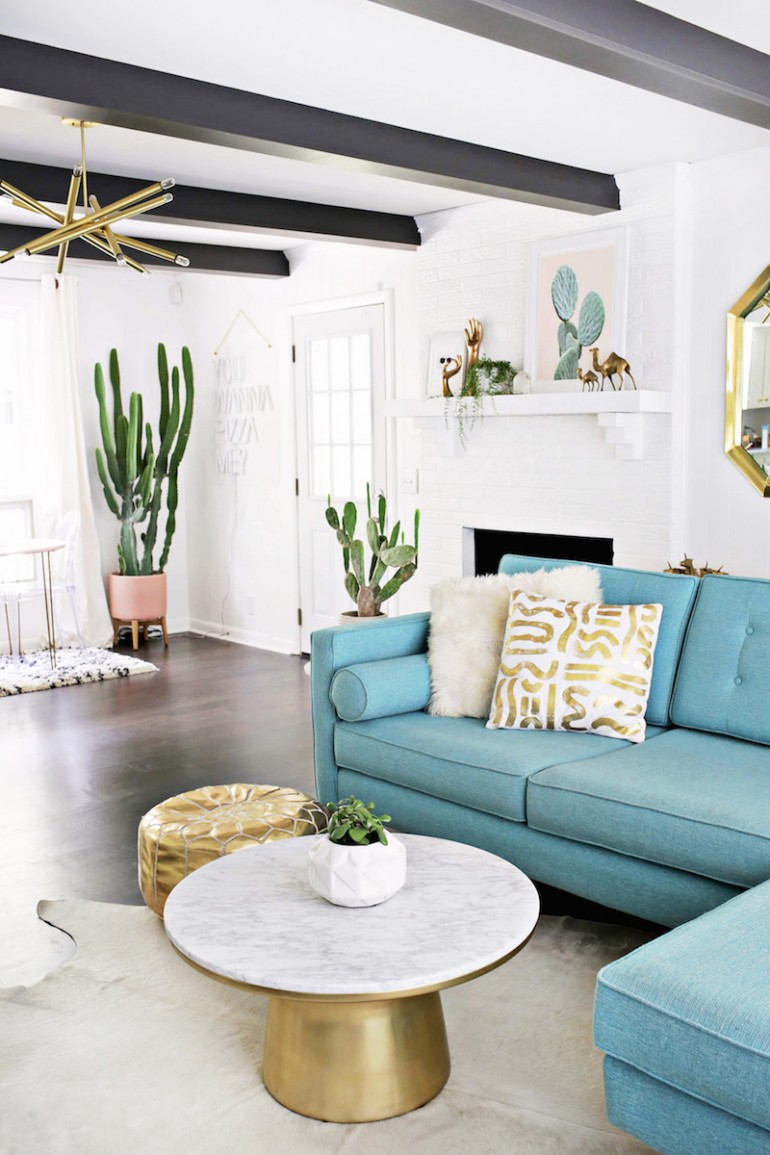 A Gorgeous Blue & Gold Living Room Update in Nashville!