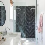 11 Bathrooms With Black Herringbone Tiles