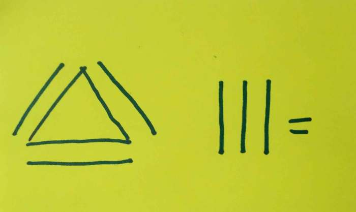 Funny constraints as learning tools for young learners. Detail of how participants represented, without words, the features of an Equilateral Triangle having all sides equal.