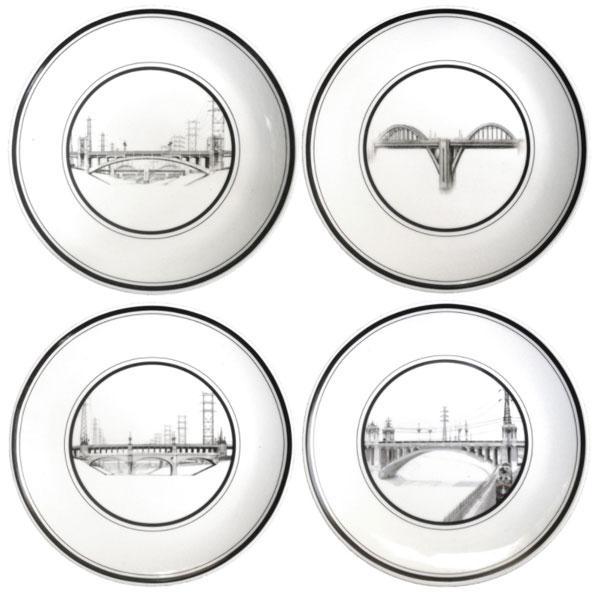 Set of four L.A. River Bridges Plates