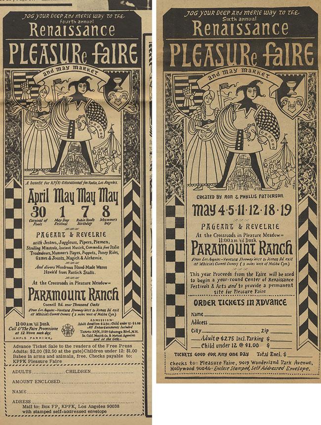 Renaissance Pleasure Faire Advertisements