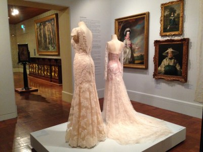 Lace dresses on display at Art Gallery of South Australia in Lace: Art of Adornment exhibition