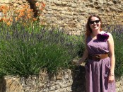 Standing in the garden at Glastonbury Abbey