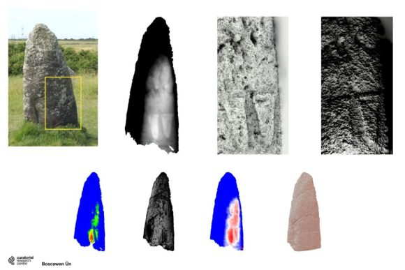 Composite image showing examples of digital filtering methods used to enhance the rock art at Boscawen Ûn stone circle, Cornwall.