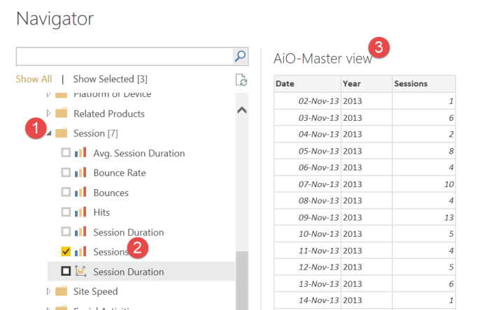 add a metric to extract data API google analytics power bi