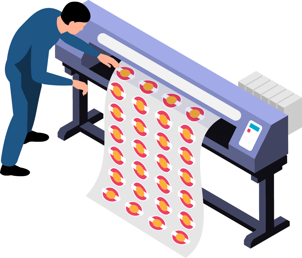 Illustration of printer printing a sign