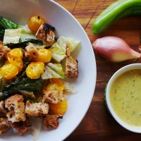 Grilled Romaine Salad with Roasted Green Chile Vinaigrette