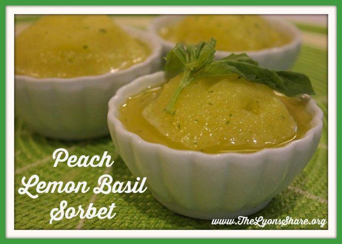 Peach Lemon Basil Sorbet from The Lyons Share.