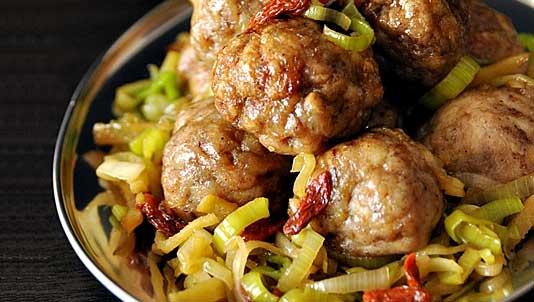 Five-Spice Chicken Meatballs with Leek and Goji Berries