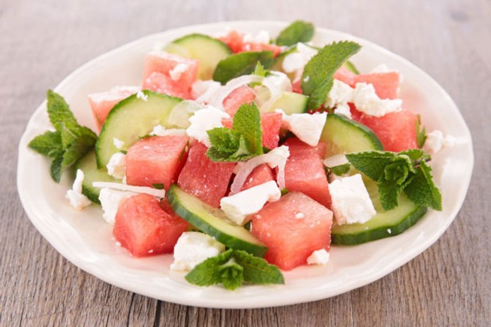Recipe: Watermelon Salad with Fried Tofu And Basil