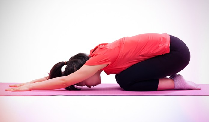 This pose helps to relax and stretch the spine while strengthening your legs