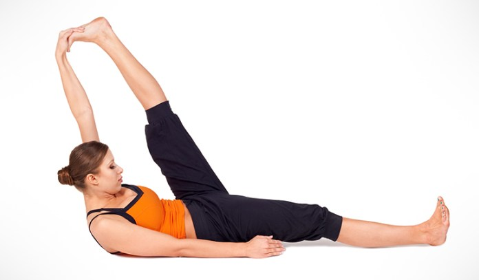 Reclining hamstring stretch relieves lower back pain