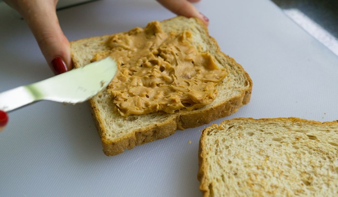 Whole grain toast and nut butter are healthy to eat at night